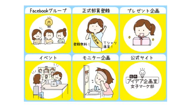 女子マーケ部 公式LINE メニュー画像 イラスト